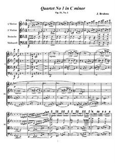 Струнный квартет No.1 до минор, Op.51: Партитура, Партии by Иоганнес Брамс