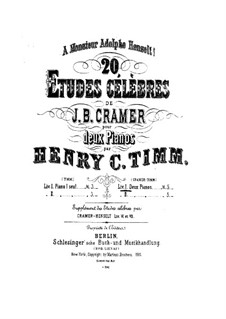 Двадцать этюдов: No.1-10, для двух фортепиано в четыре руки – Партия первого фортепиано by Иоганн Батист Крамер