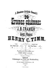 Двадцать этюдов: No.1-10, для двух фортепиано в четыре руки – Партия второго фортепиано by Иоганн Батист Крамер
