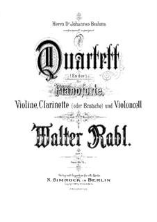 Квартет для фортепиано, кларнета, скрипки и виолончели, Op.1: Партитура by Вальтер Рабль