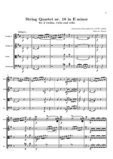 Струнный квартет No.18 ми минор: Партитура by Гаэтано Доницетти