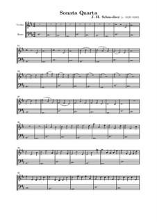 Шесть сонат для скрипки и бассо континуо: Соната No.4 ре мажор by Иоганн Генрих Шмельцер
