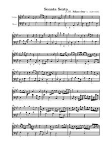 Шесть сонат для скрипки и бассо континуо: Соната No.6 ля мажор by Иоганн Генрих Шмельцер