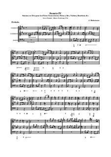 Sonates en trio pour les flûtes traversières et a bec, violon, hautbois et basso continuo, Op.3: Соната No.4 by Жак Оттетер