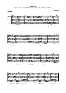 Sonates en trio pour les flûtes traversières et a bec, violon, hautbois et basso continuo, Op.3: Соната No.6 by Жак Оттетер