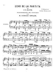 Концертный парафраз на тему И. С. Баха: Концертный парафраз на тему И. С. Баха by Адольф Шульц-Эвлер