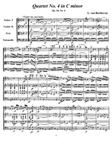 Квартет No.4 до минор: Партитура и партии by Людвиг ван Бетховен