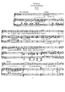 An die Hoffnung (To Hope), Op.94: Клавир с вокальной партией by Людвиг ван Бетховен