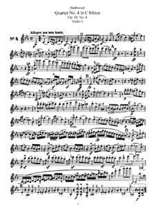 Квартет No.4 до минор: Партия первой скрипки by Людвиг ван Бетховен