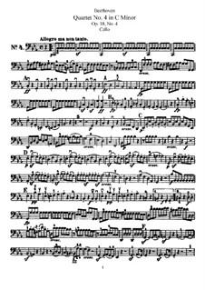 Квартет No.4 до минор: Партия виолончели by Людвиг ван Бетховен