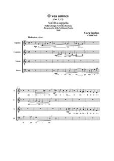 O vos omnes. SATB a cappella, CS148 No.3: O vos omnes. SATB a cappella by Santino Cara