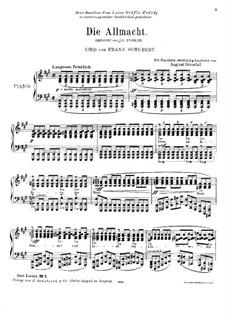 Die Allmacht (The Almighty), D.852 Op.79 No.2: Аранжировка для фортепиано by Франц Шуберт