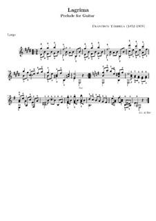 Слеза. Прелюдия: Для гитары (с аппликатурой) by Франсиско Таррега