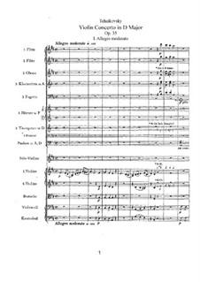 Концерт для скрипки с оркестром ре мажор, TH 59 Op.35: Партитура by Петр Чайковский