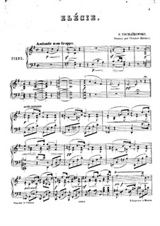 Элегия для струнного оркестра 'Привет благодарности', TH 51: Клавир by Петр Чайковский