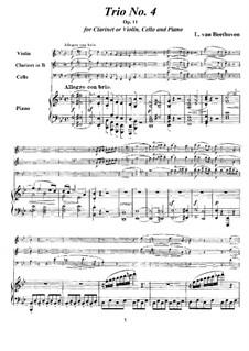 Трио для кларнета, виолончели и фортепиано No.4 'Gassenhauer', Op.11: Партитура и партии by Людвиг ван Бетховен