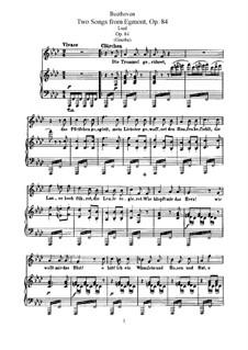 Эгмонт, Op.84: Две песни, для голоса и фортепиано by Людвиг ван Бетховен
