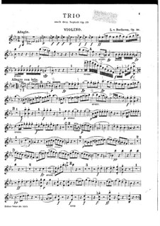 Трио для кларнета (или скрипки), виолончели и фортепиано, Op.38: Партия скрипки by Людвиг ван Бетховен