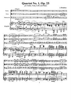 Фортепианный квартет No.1 соль минор, Op.25: Партитура, Партии by Иоганнес Брамс