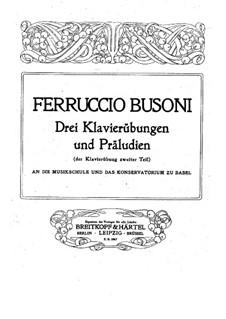 Три упражнения и прелюдии для фортепиано: Для одного исполнителя (Первое издание) by Ферруччо Бузони