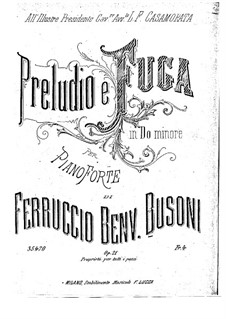 Прелюдия и фуга до минор, BV 85 Op.21: Для фортепиано by Ферруччо Бузони