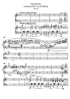 Концерт для фортепиано с оркестром No.2 ре минор, Op.40: Версия для двух фортепиано в 4 руки by Феликс Мендельсон-Бартольди