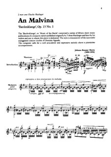 Barden-Klänge (Bardic Sounds), Op.13: No.1 An malvina by Иоганн Каспар Мерц