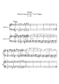 Концерт для трёх фортепиано с оркестром No.7 фа мажор 'Лодрон-концерт', K.242: Аранжировка для 2 фортепиано в 4 руки by Вольфганг Амадей Моцарт