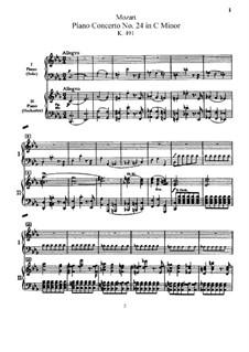 Концерт для фортепиано с оркестром No.24 до минор, K.491: Аранжировка для 2 фортепиано в 4 руки by Вольфганг Амадей Моцарт