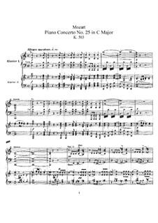 Концерт для фортепиано с оркестром No.25 до мажор, K.503: Аранжировка для 2 фортепиано в 4 руки by Вольфганг Амадей Моцарт