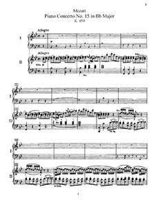 Концерт для фортепиано с оркестром No.15 си-бемоль мажор, K.450: Переложение для двух фортепиано в четыре руки by Вольфганг Амадей Моцарт