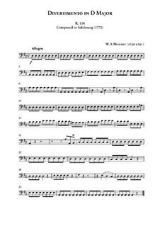 Дивертисмент ре мажор, K.136: Партия виолончели by Вольфганг Амадей Моцарт