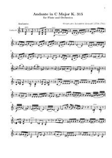 Анданте для флейты с оркестром до мажор, K.315: Скрипка II by Вольфганг Амадей Моцарт