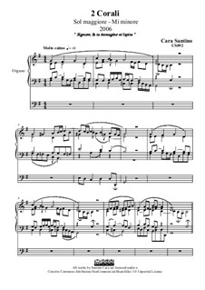Two chorales for organ in g major and e minor, CS092: Two chorales for organ in g major and e minor by Santino Cara