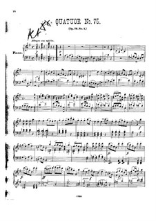 Струнный квартет No.60 соль мажор, Hob.III/75 Op.76 No.1: Версия для фортепиано by Йозеф Гайдн
