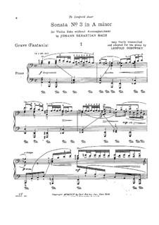 Соната для скрипки No.3 ля минор, BWV 1005: Аранжировка для фортепиано by Иоганн Себастьян Бах