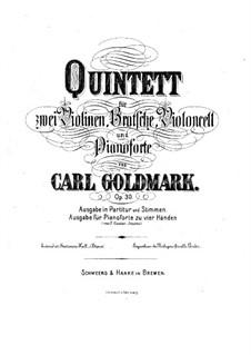 Фортепианный квинтет No.1 си-бемоль мажор, Op.30: Партитура by Карл Голдмарк
