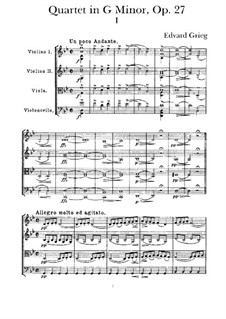 Струнный квартет соль минор, Op.27: Часть I by Эдвард Григ