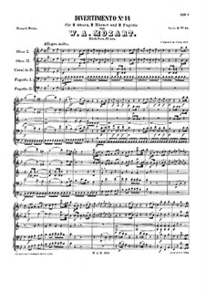 Дивертисмент cи-бемоль мажор, K.270: Партитура by Вольфганг Амадей Моцарт