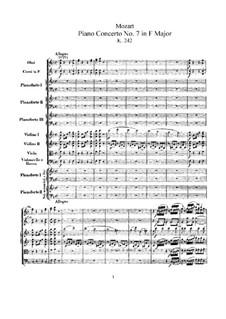 Концерт для трёх фортепиано с оркестром No.7 фа мажор 'Лодрон-концерт', K.242: Партитура by Вольфганг Амадей Моцарт