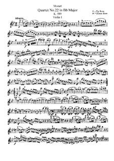 Струнный квартет No.22 си-бемоль мажор, K.589: Партия I скрипки by Вольфганг Амадей Моцарт