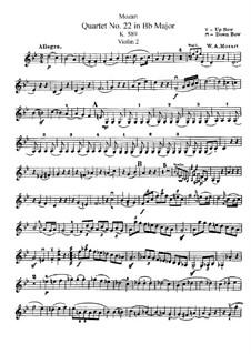 Струнный квартет No.22 си-бемоль мажор, K.589: Партия II скрипки by Вольфганг Амадей Моцарт