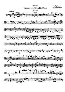 Струнный квартет No.22 си-бемоль мажор, K.589: Партия альта by Вольфганг Амадей Моцарт