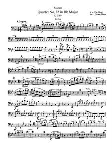 Струнный квартет No.22 си-бемоль мажор, K.589: Партия виолончели by Вольфганг Амадей Моцарт