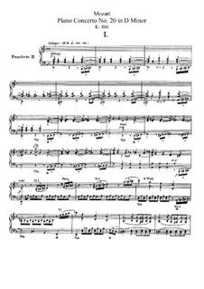 Концерт для фортепиано с оркестром No.20 ре минор, K.466: Переложение для двух фортепиано в четыре руки by Вольфганг Амадей Моцарт
