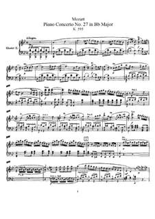 Концерт для фортепиано с оркестром No.27 си-бемоль мажор, K.595: Переложение для двух фортепиано в четыре руки by Вольфганг Амадей Моцарт