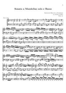 Соната для мандолины и бассо континуо до мажор: Партитура by Джованни Баттиста Гервазио
