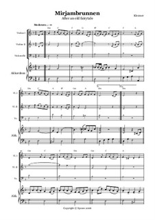 Mirjambrunnen: Für zwei Violinen, Cello und Akkordeon by folklore