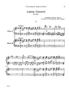 Концерт для трёх фортепиано с оркестром No.7 фа мажор 'Лодрон-концерт', K.242: Часть I. Версия для двух фортепиано в четыре руки by Вольфганг Амадей Моцарт