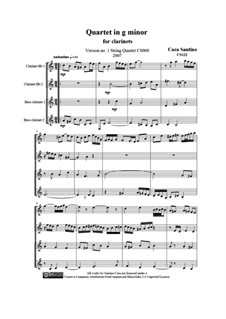 Quartet in g minor for clarinets, CS122: Quartet in g minor for clarinets by Santino Cara